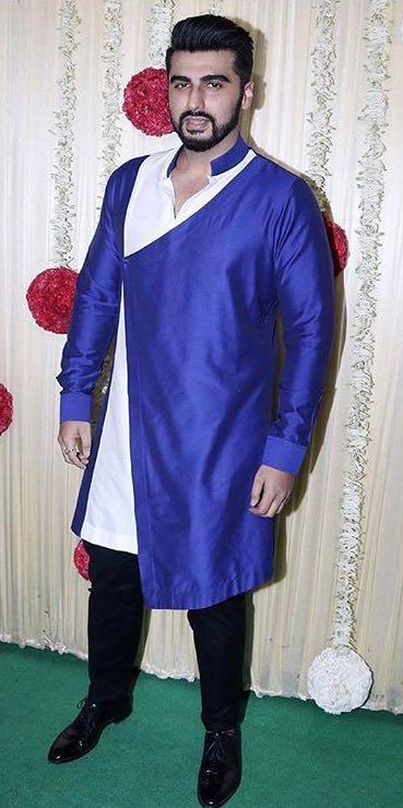 Yay or Nay? Arjun Kapoor wearing a blue Manish Malhotra jacket attire at Ekta Ravi Kapoor's diwali party - SeenIt
