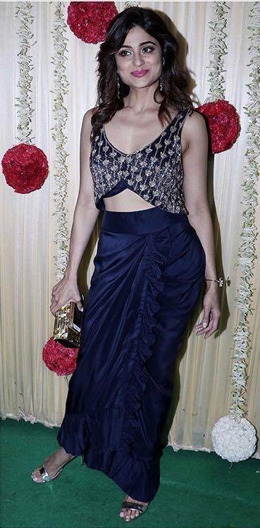 Yay or Nay? Shamita Shetty wearing a blue crop top and drape skirt attire bh Arpita Mehta at Ekta Ravi kapoor's diwali party - SeenIt