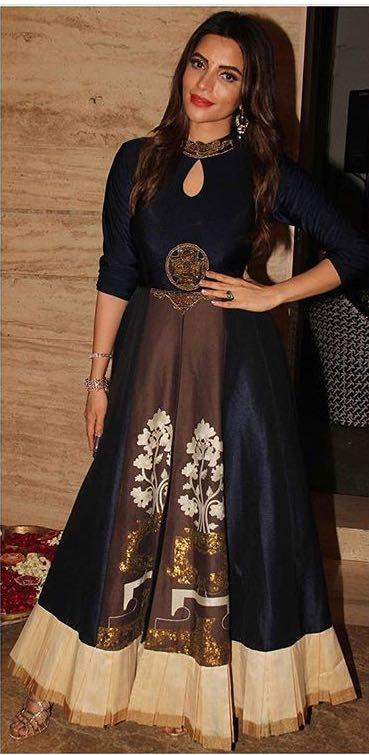 Yay or Nay? Shama Sikander wearing a black and brown cape and skirt attire on diwali last night - SeenIt