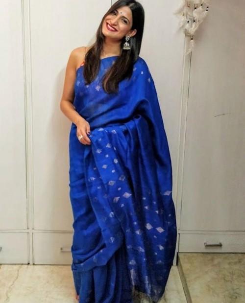 Yay or Nay? Aahana Kumra wearing a blue saree on diwali last night - SeenIt