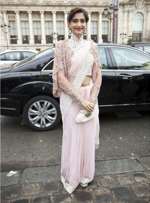 Want a similar baby pink saree like the one which Sonam Kapoor is wearing - SeenIt