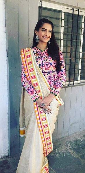a4cfdd782dc Looking for a similar white saree with a colourful blouse - SeenIt