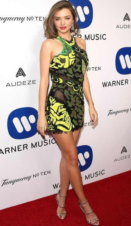 I loved this green yellow Versace minidress on Miranda. What do you think? - SeenIt
