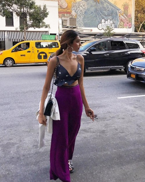 can you help me find a similar bralette and flared violet pants which juhi godambe is wearing! - SeenIt
