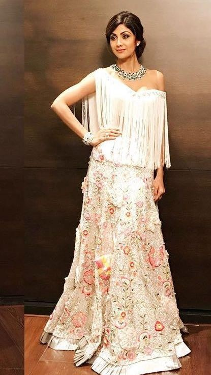 I am looking for similar white tassel drop shoulder blouse which Shilpa Shetty is wearing - SeenIt