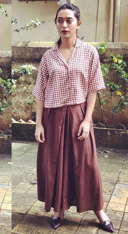 Yay or Nay? Sayani Gupta wearing a gingham print top with a skirt outfit by raw mango during the Mumbai film festival - SeenIt