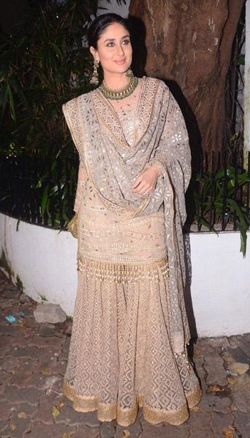 Yay or Nay? Kareena Kapoor wearing a beautiful beige golden Tarun Tahiliani sharara outfit on diwali night - SeenIt
