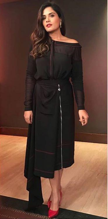 Looking for a similar black outfit , the top and side zip midi skirt like Richa Chadda  is wearing for Jia aur Jia promotions - SeenIt