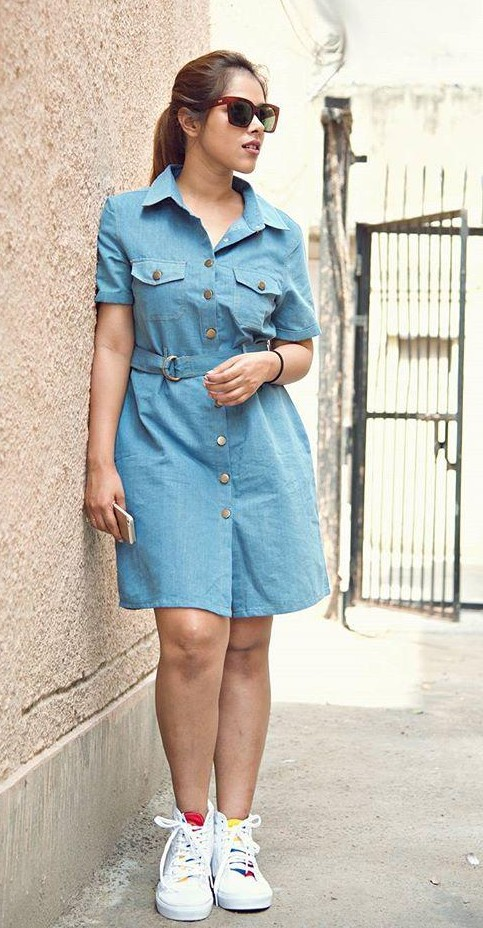 864bdeffe27 help me find a similar denim dress and white shoes which  mymultifaceteddiary is wearing! -