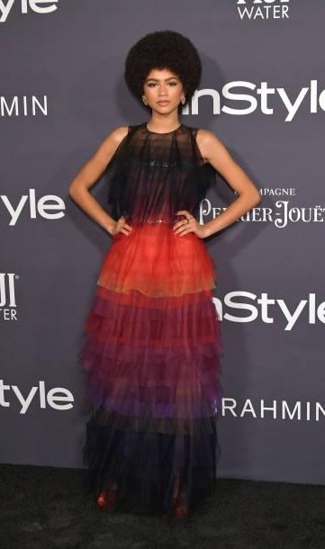 Yay or Nay? Zendaya attends the 3rd Annual InStyle Awards at The Getty Center wearing a multi-colored frill gown - SeenIt