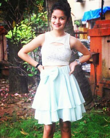 avneet kaur blue skirt white lace croptop - SeenIt