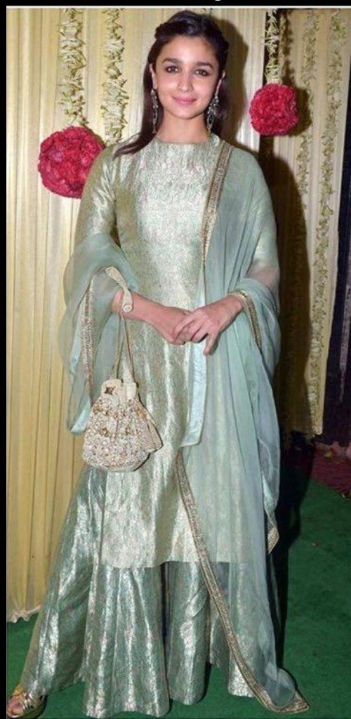 alia bhatt green silk sharara at diwali party - SeenIt