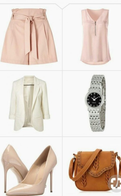 want this outfit , pink skirt and white blazer , beige pointed pumps  and pink top - SeenIt