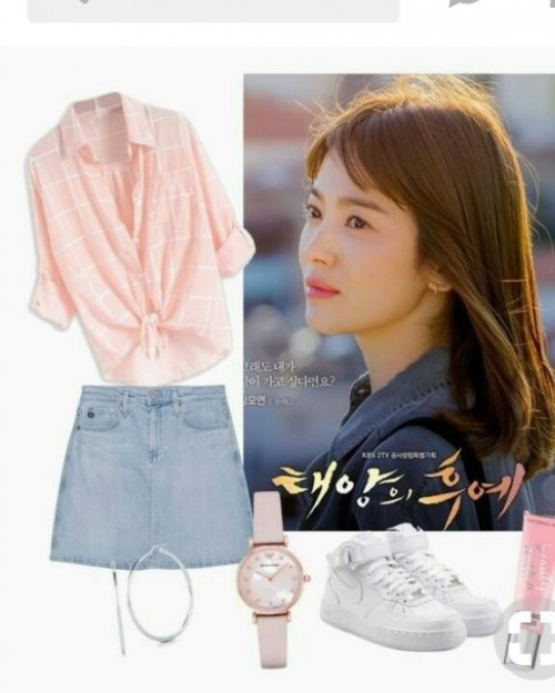 want this... denim skirt and pink shirt - SeenIt