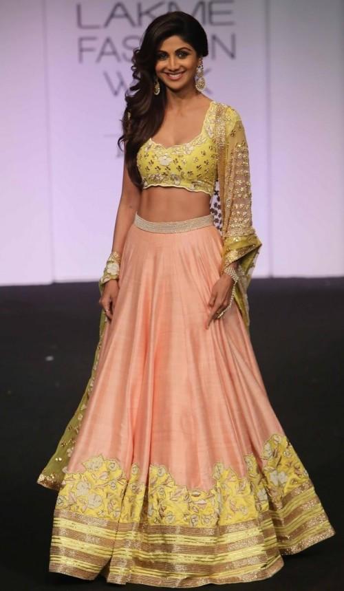 shilpa shetty rose pink and yellow embroidered lehenga divya reddy lakme fashion week 2015 - SeenIt