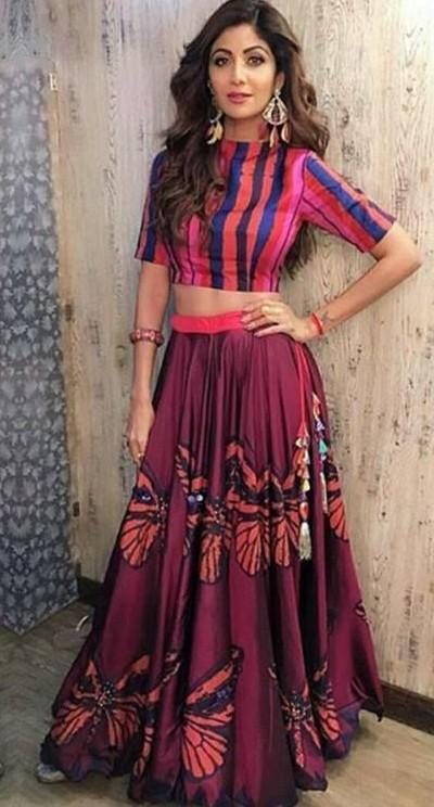 shilpa shetty pink butterfly print top and skirt lehenga ensemble by Anupama Dayal - SeenIt