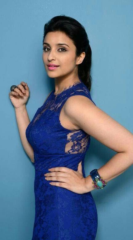 parineeti chopra blue lace sleeveless dress - SeenIt