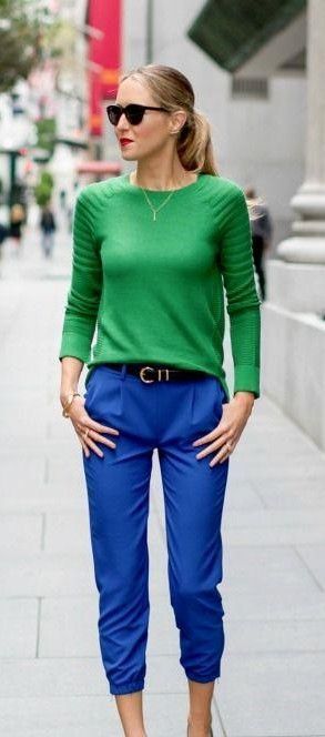 looking for similar blue pants and green sweater - SeenIt