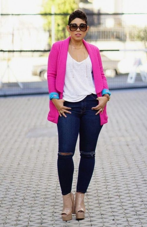 looking for a similar fuchsia blazer white tee and blue jeans - SeenIt