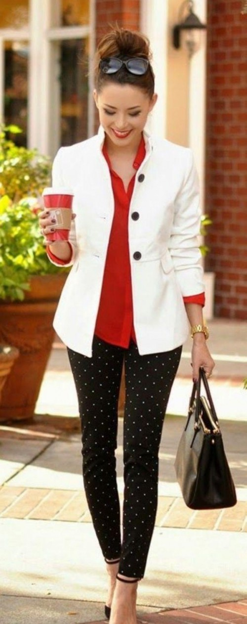 looking for the same black and white printed polka dot pant and white blazer - SeenIt