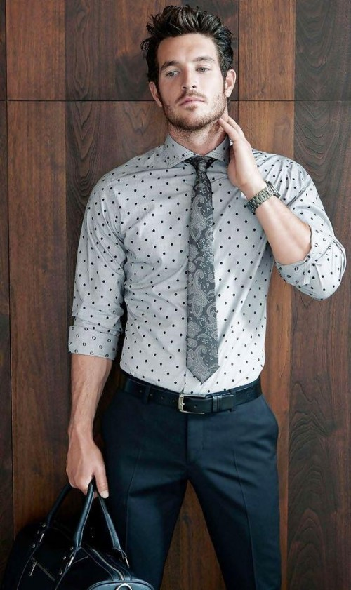 looking for the same grey and black shirt and printed tie - SeenIt