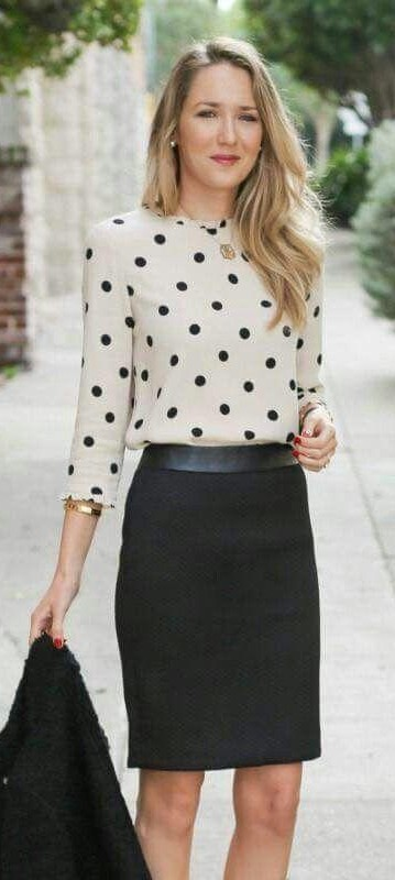 looking for similar black & white polka dots sweater and black skirt - SeenIt
