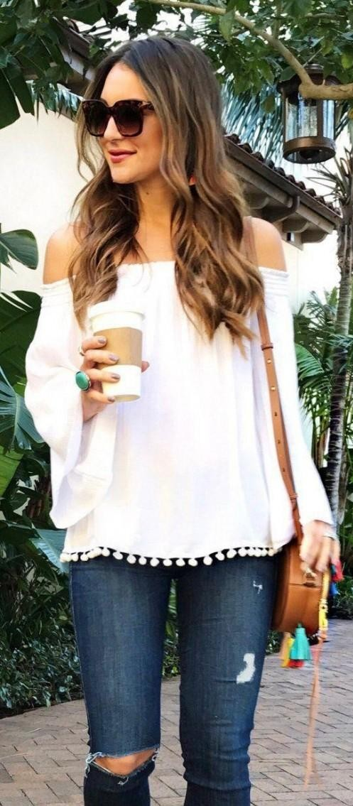 looking for a similar white off shoulder pom pom top and blue jeans - SeenIt