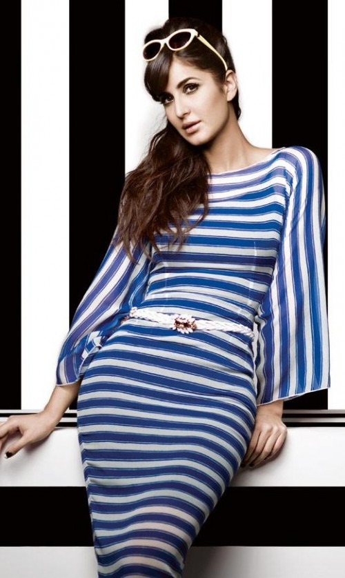 Yay or Nay? This white and blue striped dress that Katrina Kaif is wearing - SeenIt