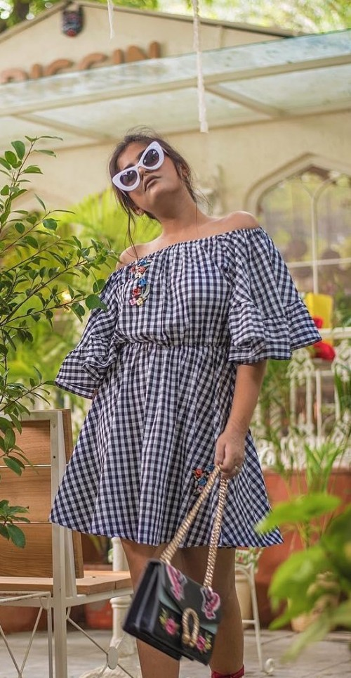 Looking for this white gingham prrinted off shoulder dress that is seen in thatbohogirl - SeenIt