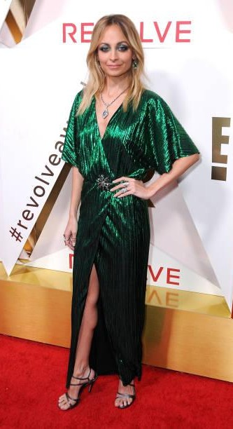 Yay or Nay? Nicole Richie attends #REVOLVEawards at DREAM Hollywood wearing a green shimmer deep neck slitted gown - SeenIt