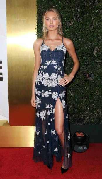 Yay or Nay? Romee Strijd attends #REVOLVEawards at DREAM Hollywood wearing a blue shimmer clad party gown - SeenIt