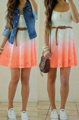 Looking for this whole outfit, the white and orange ombre skater dress with the denim jacket - SeenIt