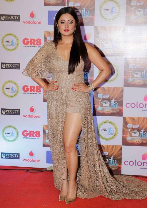 Yay or Nay? Rashmi Desai wearing a shimmer clas golden slit gown at the Ita awards ceremony 2017 last night in Mumbai - SeenIt