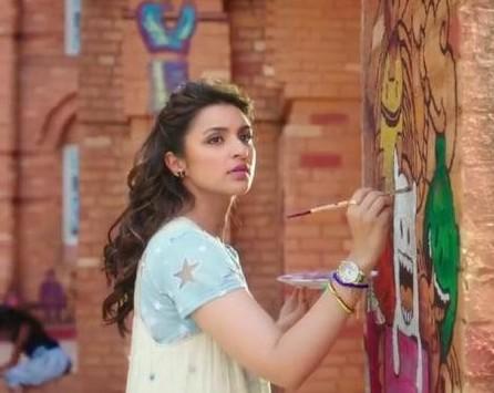 Parineeti Chopras Blue Tshirt and Cream Dress in Golmaal Again - SeenIt