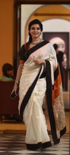 Samantha Ruth Prabhus White and Black Saree - SeenIt