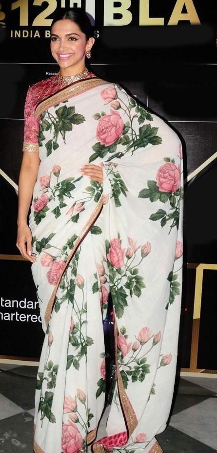 Deepika Padukone white floral Sabyasachi saree IBLA awards - SeenIt