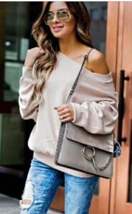 Oversized one shoulder sweater in pastel shades - SeenIt