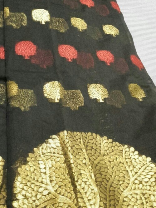 Black saree with tree prints - SeenIt