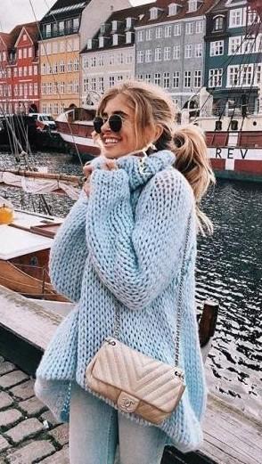 Xenia Vanderwoodsen pastel blue knit sweater - SeenIt