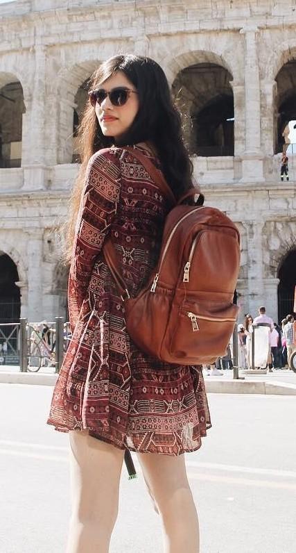 This tan backpack that is seen in peachesandblush - SeenIt