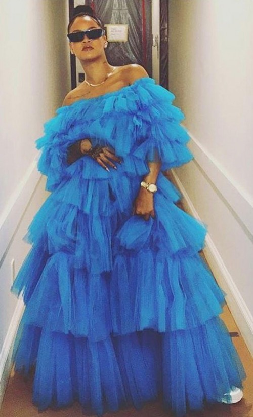 Yay or Nay? Rihanna in this blue ruffles off shoulder maxi dress - SeenIt
