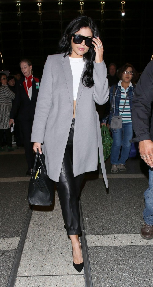 Kylie jenner grey coat black leather pants la airport look - SeenIt