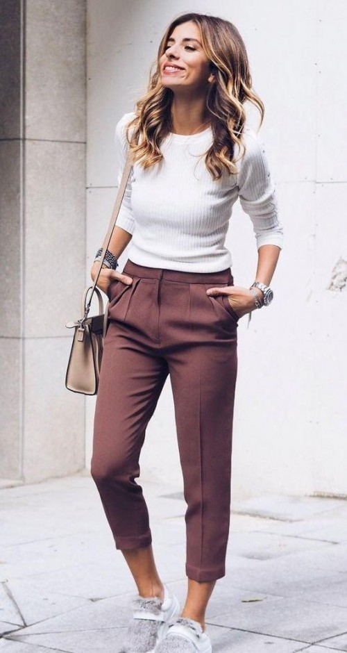 this white tshirt with wine colour trousers - SeenIt