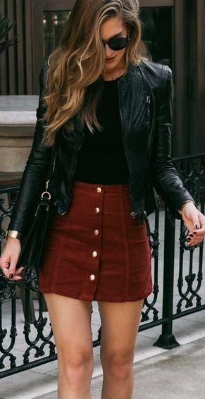 This red buttondown miniskirt , black tee, and biker jacket - SeenIt