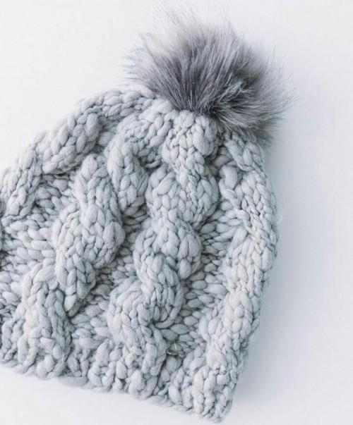 Grey knit beanie - SeenIt