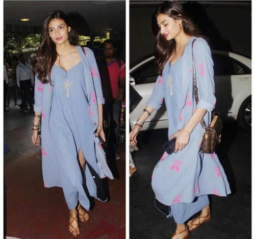 Athiya Shetty in blue Masaba dress with a printed cape outfit - SeenIt
