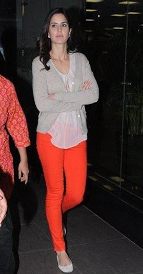 Katrina Kaif's orange pants and grey sweater airport look - SeenIt
