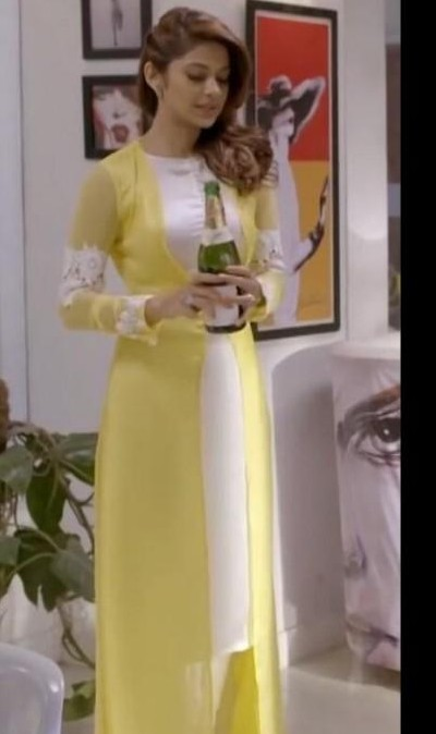 Jennifer Winget's yellow long cape jacket and white salwar suit dress from TV show - SeenIt