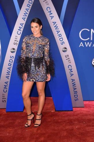 Yay or Nay? Lea Michele attends the 51st annual CMA Awards at the Bridgestone Arena wearing a sequin clad short dress - SeenIt