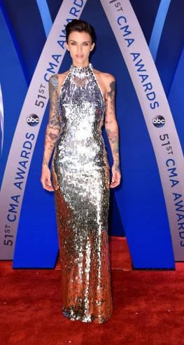 Yay or Nay? Ruby Rose attends the 51st annual CMA Awards at the Bridgestone Arena wearing a silver sequin halter gown - SeenIt